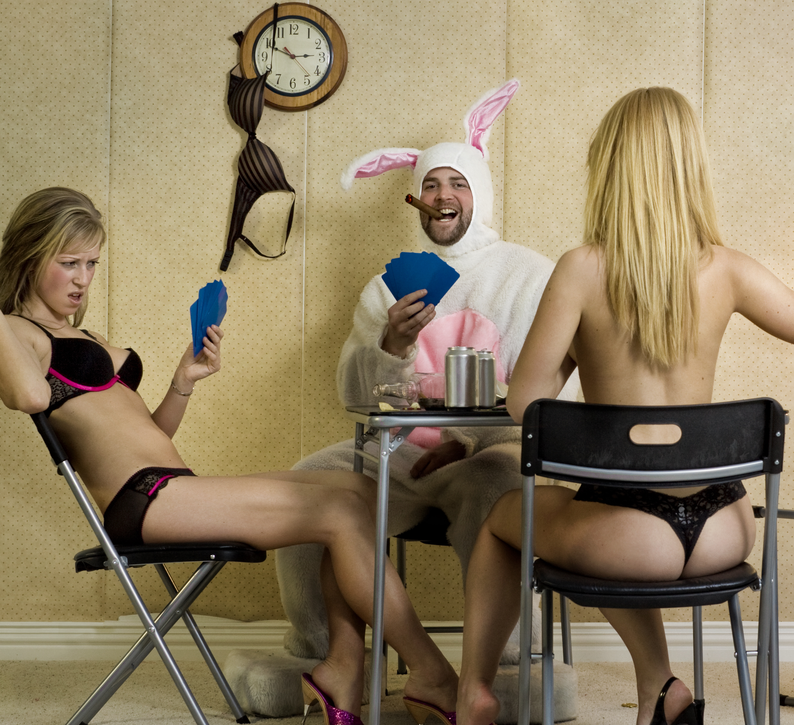 bunny and two women playing strip poker