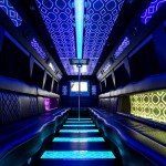 Blue Lighting Inside Party Bus